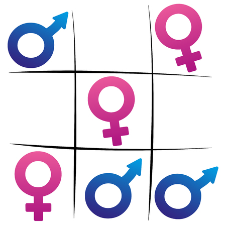 woman male: Gender fight - winning woman - female and male symbols playing tic tac toe.