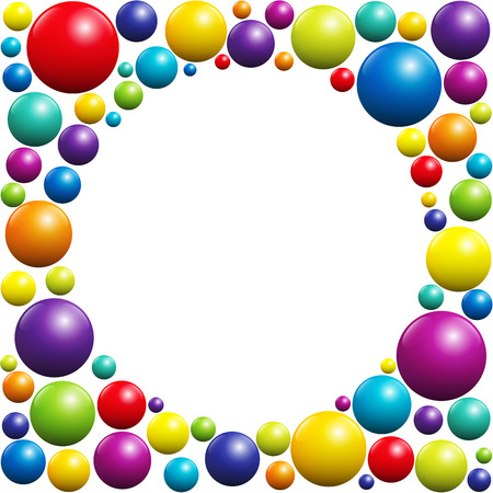 coloured: Colorful balls forming a circular frame with white center - isolated vector illustration on white background.