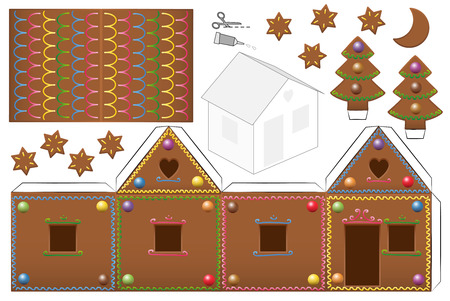 Gingerbread house with sweet candy decor. Print this paper model on heavy paper, cut the pieces out, score and fold them and glue them together.
