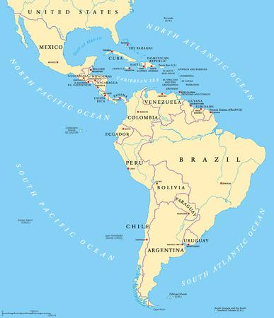 América Latina mapa político con mayúsculas, de las fronteras nacionales, ríos y lagos. Los países de la frontera norte de México a extremo sur de América del Sur, incluyendo el Caribe. Inglés etiquetado. Ilustración de vector