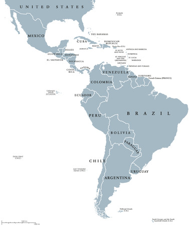 mapa de bolivia: países de América Latina mapa político con las fronteras nacionales. Los países de la frontera norte de México hasta el extremo sur de América del Sur, incluyendo el Caribe. Inglés etiquetado. Ilustración. Vectores