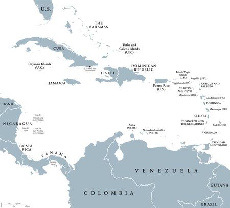 La mappa politica dei Caraibi con i confini nazionali. Il Mar dei Caraibi con più, Piccole e Isole Sottovento, con Indie occidentali e parti del Centro e Sud America. etichettatura inglese.