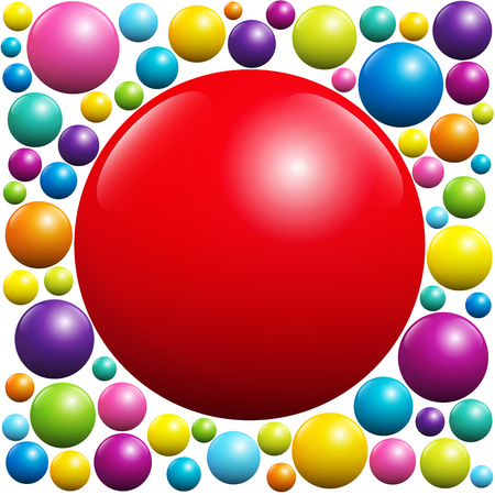 red ball: Red ball surrounded by many colorful balls - isolated vector illustration on white background.