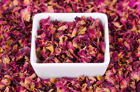 edible: Rose petals in a white bowl surrounded by more petals. Dried blossoms, used for perfumes, cosmetics, teas and baths. Purple and orange colored organic herb. Isolated macro photo close up from above. Stock Photo