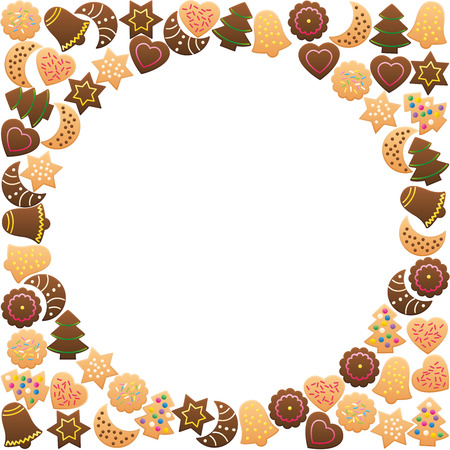 variety: Christmas cookies frame circle. Isolated vector illustration on white background. Illustration