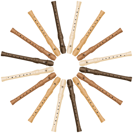 woodwind: Recorder that form a round sunbeam pattern.
