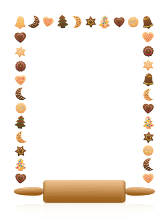variety: Christmas cookies frame with wooden rolling pin. Illustration