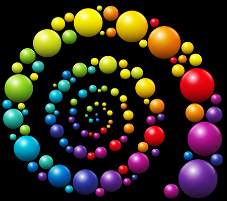 threedimensional: Colorful snail pattern spiral out of three-dimensional balls on black background.