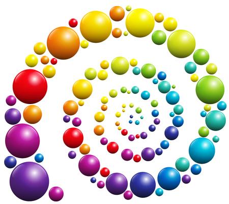 paleta de pintor: Espiral con bolas de colores sobre fondo blanco. Vectores