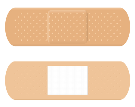 both: Adhesive bandage - both sides, surface and reverse with white absorbent pad. Illustration
