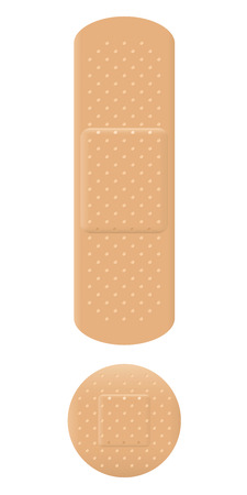 bandages: Adhesive bandage exclamation mark symbol. Illustration