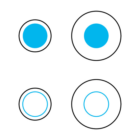 Delboeuf optical illusion of relative size perception. The blue circles are the same size and surrounded by an annulus. The left circles appear larger. Similar to Ebbinghaus illusion. Illustration.