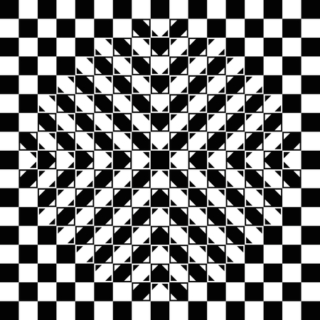 bulge: Bulging checkerboard illusion. The checkerboard is fully regular, each check is a regular square and the bulge is a geometrical-optical illusion. Geometrical illusion with 3D impression. Illustration.