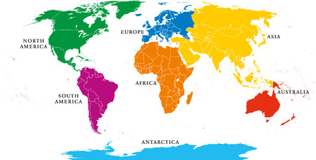 Asia, Africa, North And South America, Antarctica, Europe And Australia.  Detailed Map Under Robinson Projection And English Labeling On White  Background.