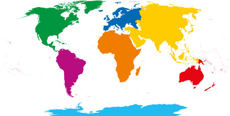 south asia: Seven continents map. Asia yellow, Africa orange, North America green, South America purple, Antarctica cyan, Europe blue and Australia in red color. Robinson projection over white. Illustration.