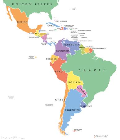 América Latina apresenta mapa político. Países de cores diferentes, com fronteiras nacionais e nomes de países ingleses. Do México até o extremo sul da América do Sul, incluindo o Caribe. Ilustración de vector