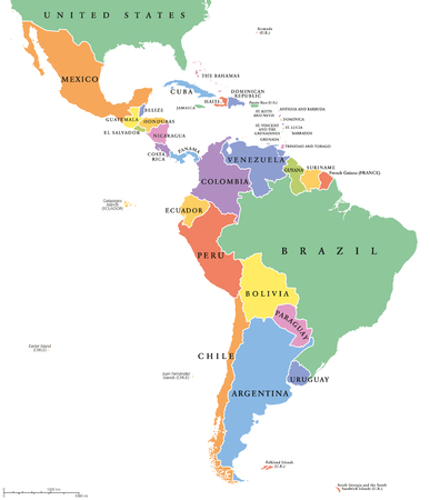 Latin America single states political map. Countries in different colors, with national borders and English country names. From Mexico to the southern tip of South America, including the Caribbean.