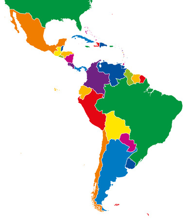 Latin America single states map. All countries in different full intense colors and with national borders. From northern border of Mexico to the southern tip of South America, including the Caribbean. Imagens - 64059073