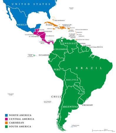 Ameryka Łacińska regiony map politycznych. Podregionów Ameryka Południowa Karaibów, Północnej, Środkowej i w różnych kolorach, z granicami państwowymi i nazwy kraju angielskim. Ilustracja na białym tle.