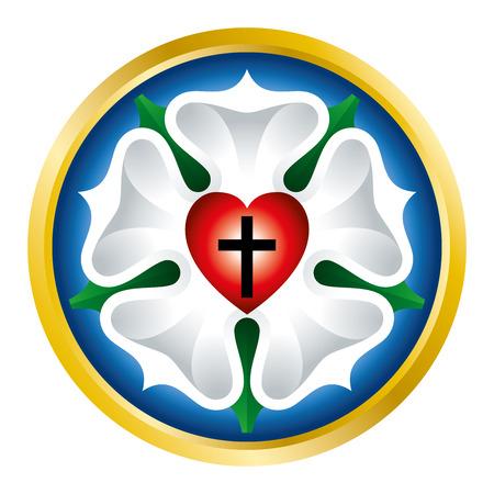 Lutero se levantó, también sello de Luther, símbolo del luteranismo, utilizado por Martin Luther como una expresión de su teología. cruz de color negro en el corazón rojo de Santa Trinidad, una rosa blanca en el cielo azul y el campo de anillo de oro. Vectores