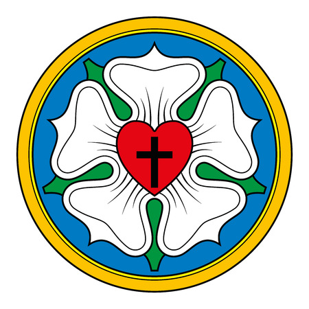 Luther rose, also Luther seal, symbol of Lutheranism, used by Martin Luther as an expression of his theology. Black cross in red heart for Holy Trinity, a white rose in sky blue field and golden ring.