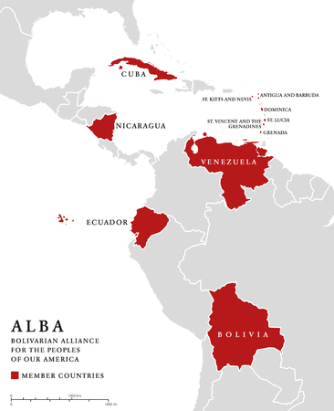 ALBA, member countries info map. Bolivarian Alliance for the Peoples of Our America, an intergovernmental organization and integration platform for the countries of Latin America and the Caribbean. Illustration