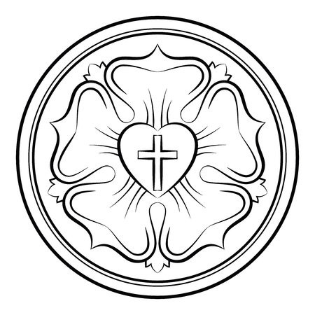 Luther rose monochrome calligraphic illustration. Also Luther seal, symbol of Lutheranism. Expression of theology and faith of Martin Luther, consisting of a cross, an heart, a single rose and a ring. Stock Illustratie
