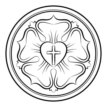 Luther Rose monochrome kalligraphischer Darstellung. Auch Luther Siegel, das Symbol des Luthertums. Ausdruck der Theologie und des Glaubens von Martin Luther, bestehend aus einem Kreuz, einem Herz, einer Single-Rose und einem Ring. Illustration
