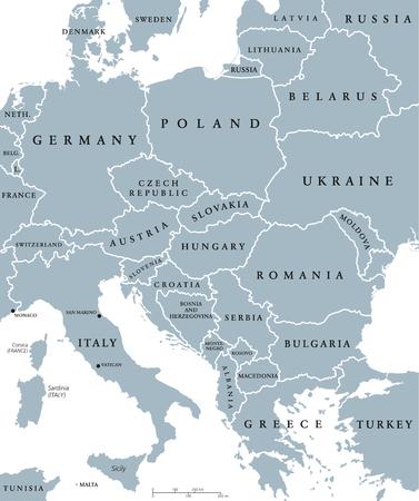 los países de Europa central mapa político con las fronteras nacionales. Ilustración gris con etiquetado Inglés y escalado en el fondo blanco. Ilustración de vector