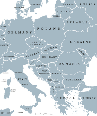 Central Europe countries political map with national borders. Gray illustration with English labeling and scaling on white background.