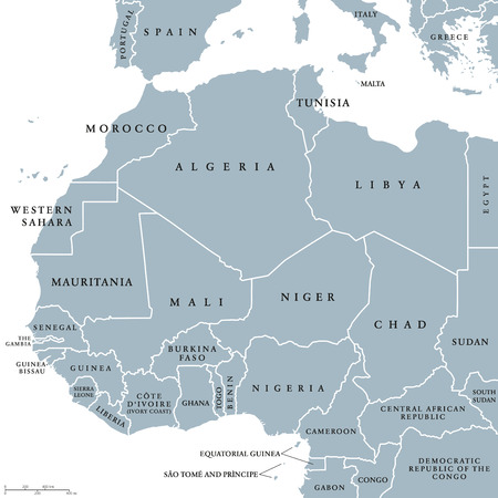 West Africa countries political map with national borders. English country names. Illustration. Gray illustration with English labeling and scaling on white background.