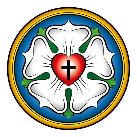 루터 장미 색깔의 붓글씨 일러스트. 또한 루터의 도장, 루터의 상징. 마틴 루터의 신학과 신앙 표현, 십자가, 심장, 단일 장미와 반지로 구성. 일러스트