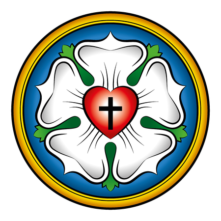 Luther Rose färbte kalligraphischer Darstellung. Auch Luther Siegel, das Symbol des Luthertums. Ausdruck der Theologie und des Glaubens von Martin Luther, bestehend aus einem Kreuz, einem Herz, einer Single-Rose und einem Ring. Standard-Bild - 64064301