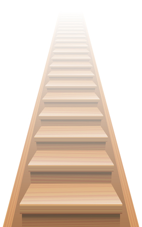 ascendant: Wooden stairway to heaven. Isolated vector illustration on white background.