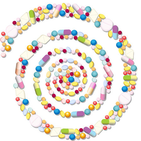 Espiral con muchas píldoras, tabletas y cápsulas.