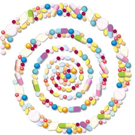 Spiraal met veel pillen, tabletten en capsules.