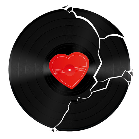 miserable: Broken vinyl record with unlabeled heart shaped center.