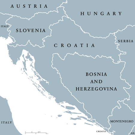 scaling: West Balkan countries political map with national borders. Western Balkans, formed by Slovenia, Croatia and Bosnia And Herzegovina. English labeling and scaling. Gray illustration on white background.