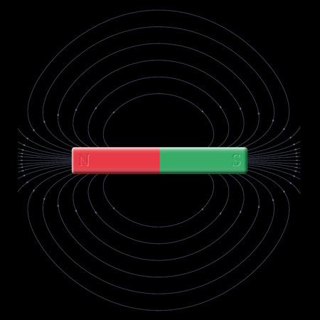 北と南の極のバーによって生成された磁場マグネット。黒の背景の図。