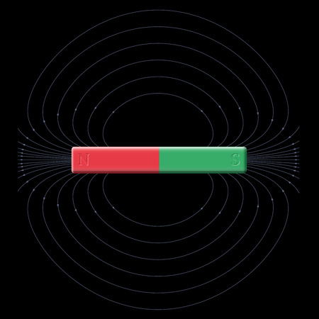 magnetic north: Magnetic field produced by north and south poles of a bar magnet. Illustration on black background.