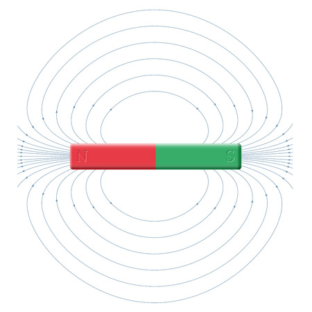 magnetismo: Magnetism - magnetic field produced by north and south poles of a bar magnet.