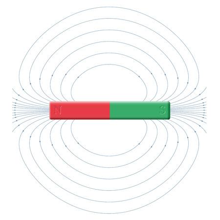 magnetismo: Magnetismo - campo magnetico prodotto da poli nord e sud di una barra magnetica. Vettoriali