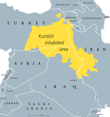 lands: Kurdish-inhabeted area political map. Kurdish lands, also Kurdistan. Cultural region wherein Kurdish people form a prominent majority. Parts of Turkey, Syria, Iraq, Iran and Armenia. English labeling.