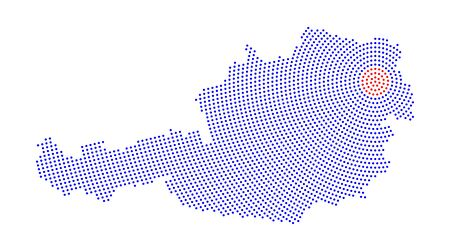 austria map: Austria map radial dot pattern. Blue dots going from the red dotted capital Vienna outwards and form the country silhouette. Illustration on white background. Illustration