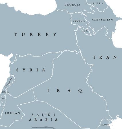 majority: Kurdish countries political map. Kurdish lands, also Kurdistan. Cultural region wherein Kurdish people form a prominent majority. Parts of Turkey, Syria, Iraq, Iran and Armenia. English labeling. Illustration