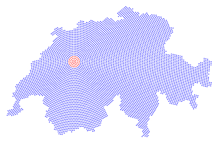 Switzerland map radial dot pattern. Blue dots going from the red dotted capital Bern outwards and form the country silhouette. Illustration on white background. Illustration
