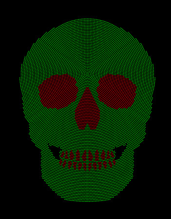 Skull green and red radial dot pattern. Symbol of the bone structure of an head of a skeleton. Formed by dots beginning from the place of the third eye. Abstract illustration on black background. Illustration
