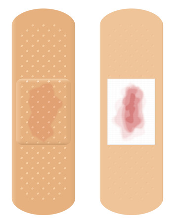 bloodstains: Blood stains on adhesive bandage - surface and reverse.
