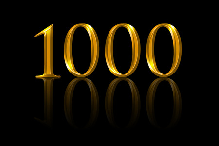 One thousand gold numbers on black background. A thousandth anniversary or attained value expressed with yellow orange colored metallic numerals. Illustration of reached aim. Stock Photo