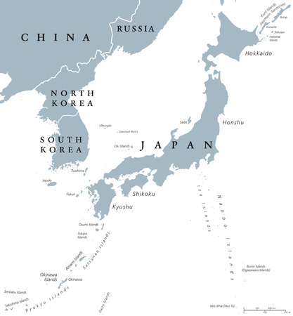 scaling: Korean peninsula and Japan countries political map with national borders and islands. Nations in East Asia. English labeling and scaling. Gray illustration on white background.